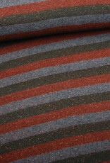 Editex Fabrics Editex Lurex Stripes  groen- bruin- grijs met koperen glitter