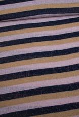 Editex Fabrics Editex Lurex Stripes  roze-oker-zwart met koperen glitter