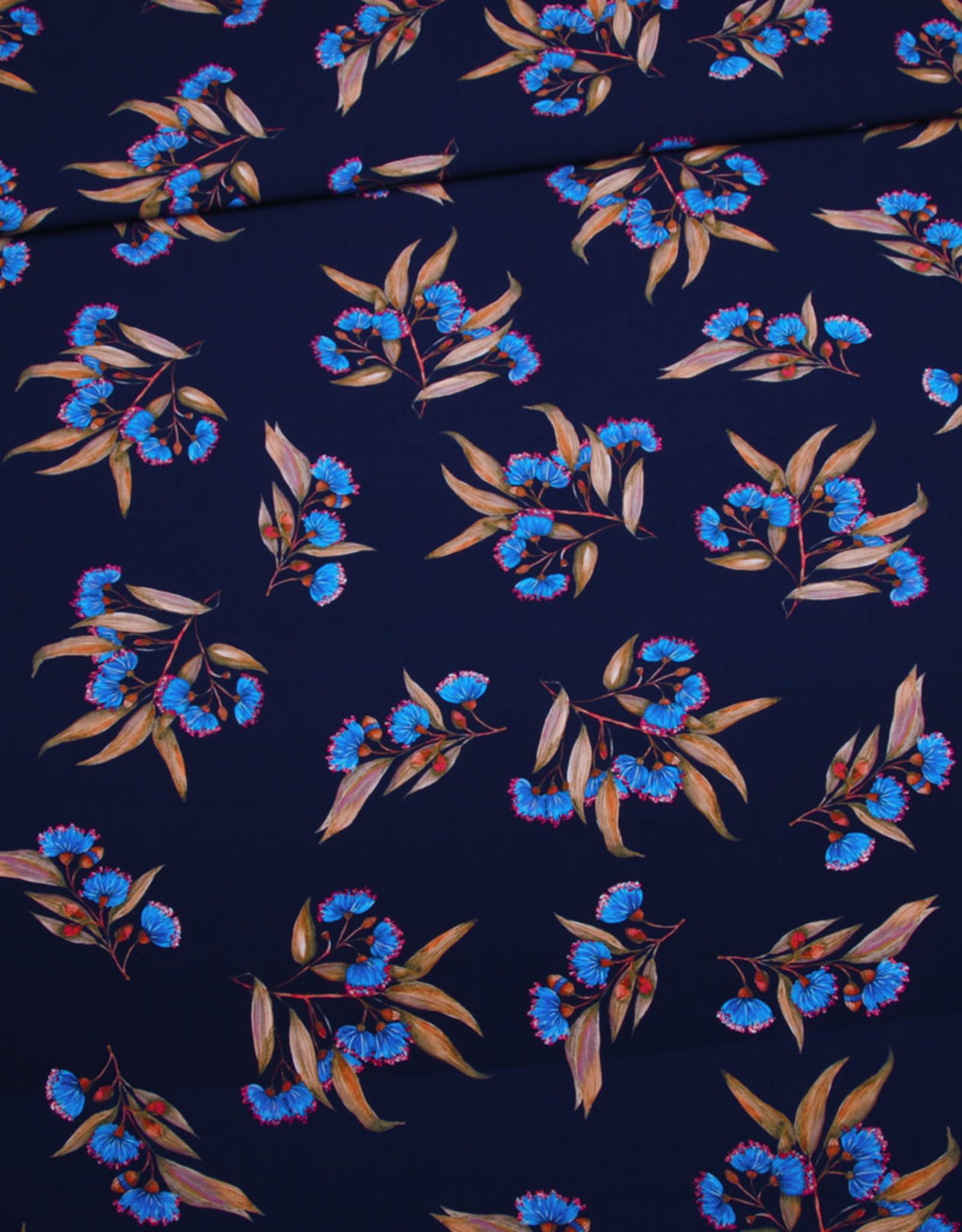 Editex Fabrics Editex flower viscose donkerblauw eco