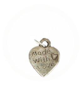 Bedel  hart made with love zilver 1.5 cm groot