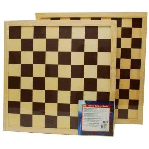 H.O.T. Games Schaakbord-Dambord Triplex Bruin V. 45mm.40cm