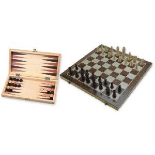 H.O.T. Games Schaak/Backgammon Klapcassette 29cm Ingelegd