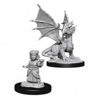 Unpainted Miniatures- Silver Dragon Wyrmling & Halfling Child  (5E)