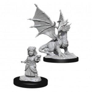 Wizk!ds Unpainted Miniatures- Silver Dragon Wyrmling & Female Halfling  (5E)