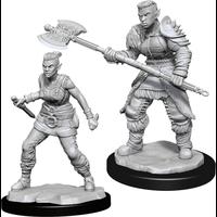 Unpainted Miniatures- Orc Barbarian Female  (5E)