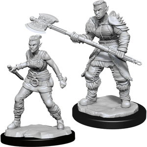 Wizk!ds Unpainted Miniatures- Orc Barbarian Female  (5E)