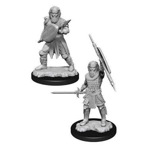 Wizk!ds Unpainted Miniatures- Human Fighter Male  (5E)