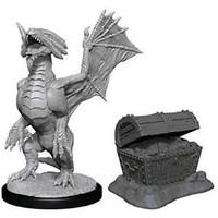 Unpainted Miniatures- Bronze Dragon Wyrmling & Pile of Sea Treasure (5E)