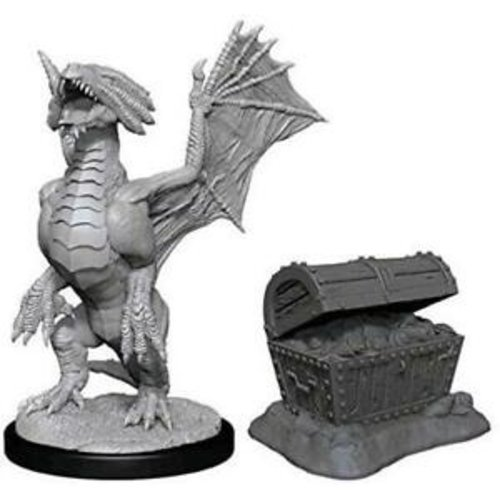 Wizk!ds Unpainted Miniatures- Bronze Dragon Wyrmling & Pile of Sea Treasure (5E)