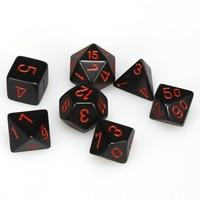 Opaque Polyhedral 7-Die Sets - Black w/ red