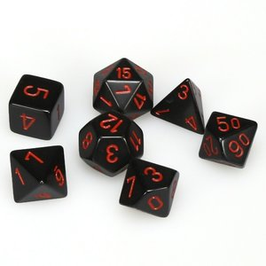 Chessex Opaque Polyhedral 7-Die Sets - Black w/ red