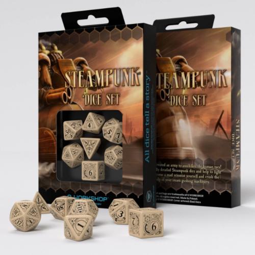 Steampunk Beige & Black Dice Set (7)