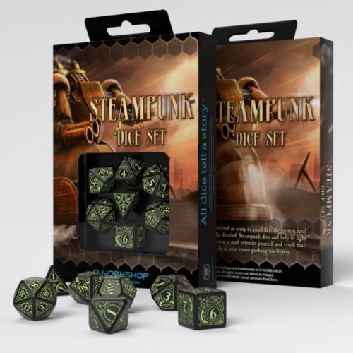 Q-Workshop Steampunk Black & glow-in-the-dark Dice Set (7)