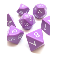 Jumbo Polyhydral 7 piece dice set- opaque- purple/white
