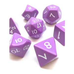Koplow Jumbo Polyhydral 7 piece dice set- opaque- purple/white