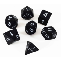 Jumbo Polyhydral 7 piece dice set- opaque- black/white
