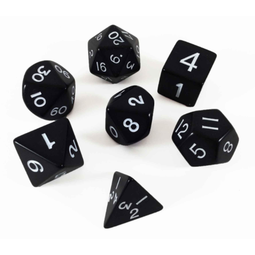 Koplow Jumbo Polyhydral 7 piece dice set- opaque- black/white