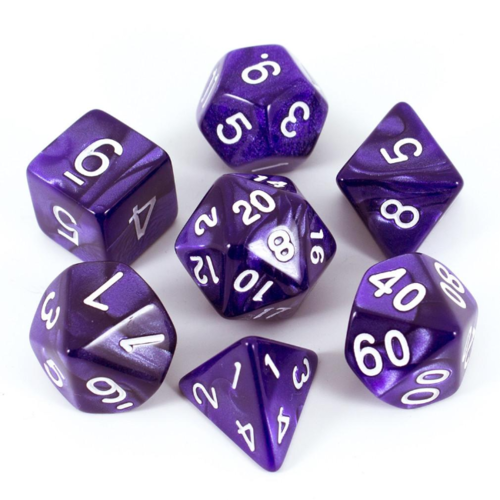 - Purple Pearl Polyhydral Dice Set