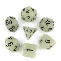 White Glow in the Dark Polyhydral Dice Set