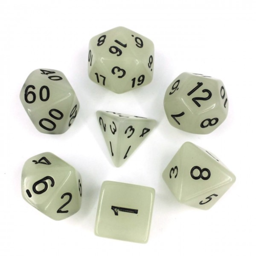 - White Glow in the Dark Polyhydral Dice Set