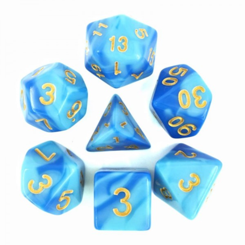 - Sky Blue + Blue Blend Dice Set