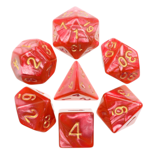 - Rose Red Pearl Polyhydral Dice Set