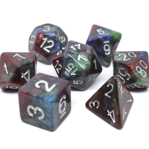 - Red, Green and Blue Marble Polyhydral Dice Set