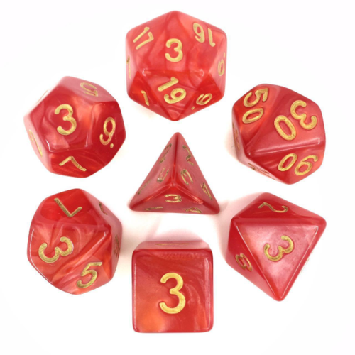 - Red Pearl with Golden Font Polyhydral Dice Set