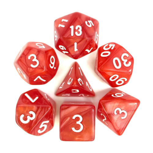 - Red Pearl Polyhydral Dice Set