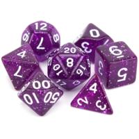 Purple Glitter Polyhydral Dice Set