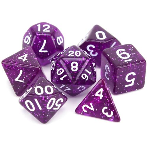 - Purple Glitter Polyhydral Dice Set