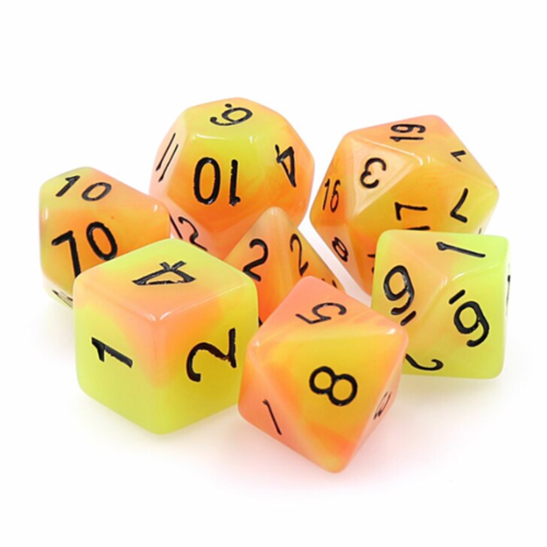 - Orange and Yellow Glow in the Dark Polyhydral Dice Set