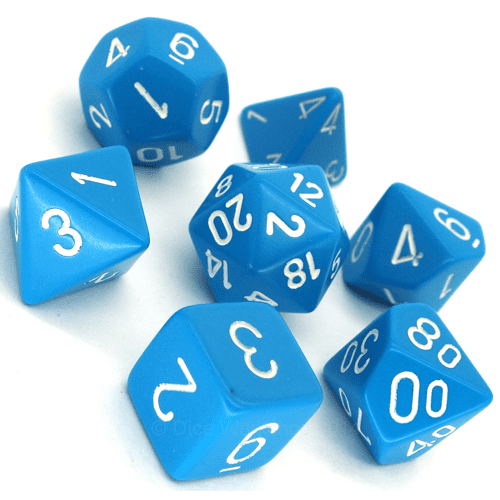 - Light Blue White Polyhydral Dice Set
