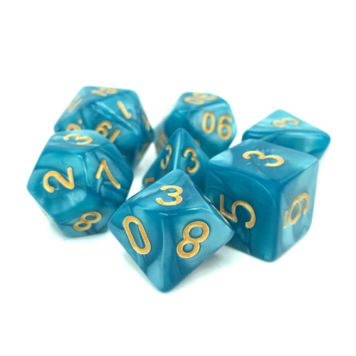 - Lake Blue Pearl with Golden Font Polyhydral Dice Set