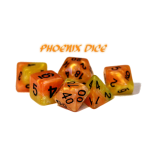 Gate Keeper Games Halfsies Dice Phoenix Fiery Orange & Phoenix Tail Yellow
