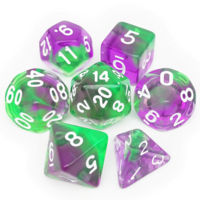 Green Purple Polyhydral Dice Set