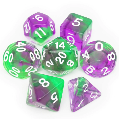 - Green Purple Polyhydral Dice Set