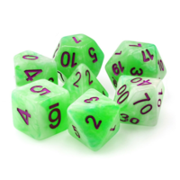 Green Pearl with Purple Font Polyhydral Dice Set