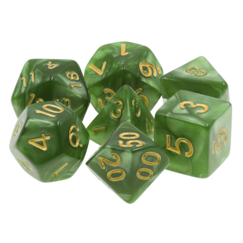 - Green Pearl Polyhydral Dice Set