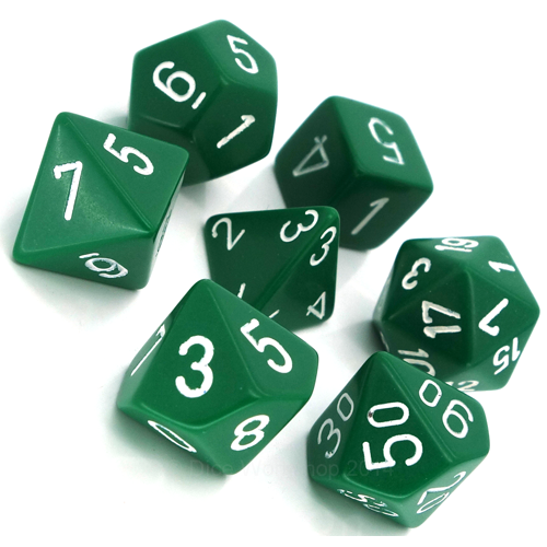 - Green Opaque Polyhydral Dice Set
