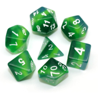 Green Gradient Layer Polyhydral Dice Set
