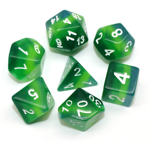 - Green Gradient Layer Polyhydral Dice Set
