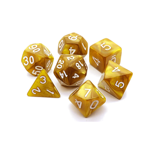 - Golden Pearl Polyhydral Dice Set