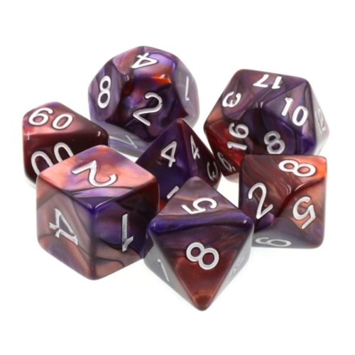 - Copper and Blue Blend Polyhydral Dice Set