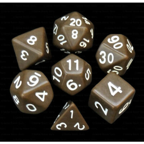 - Brown Opaque Polyhydral Dice Set