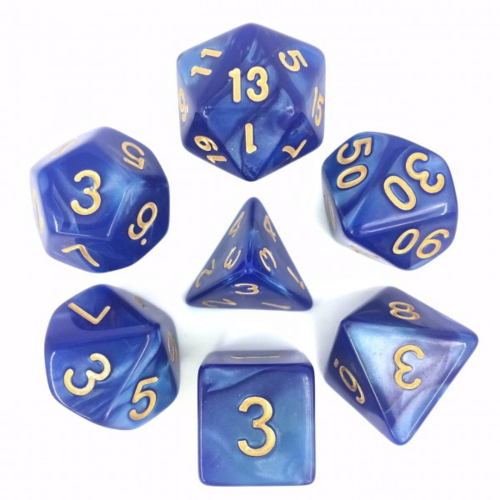- Blue Pearl with Golden Font Polyhydral Dice Set