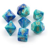 Gemini Blue-teal/gold  Polyhedral 7-Die Set