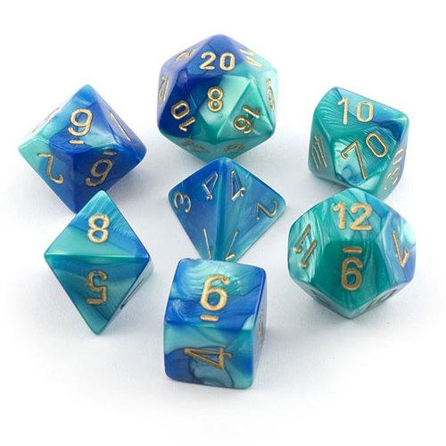 Chessex Gemini Blue-teal/gold  Polyhedral 7-Die Set