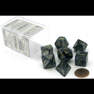 Chessex Lustrous Black/Gold Polyhedral 7-Die Set