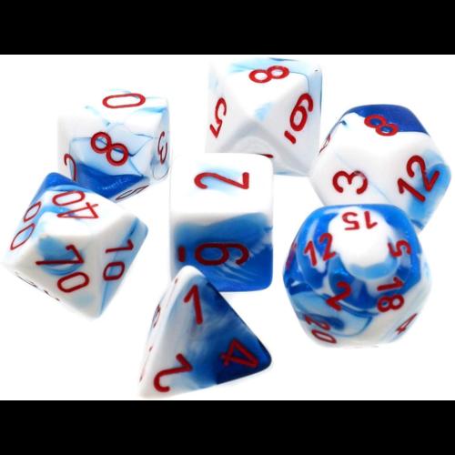 Chessex Gemini Astral Blue/white  Polyhedral 7-Die Set